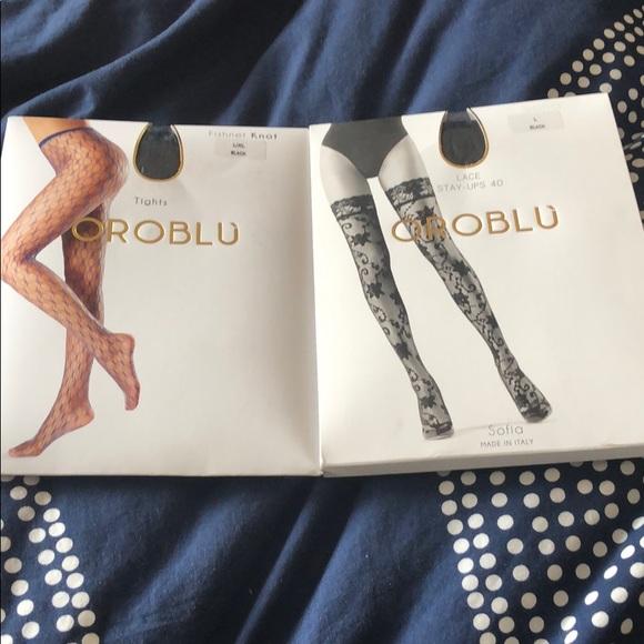 Oroblu Knot Fishnet Tights-Black-Large//XL